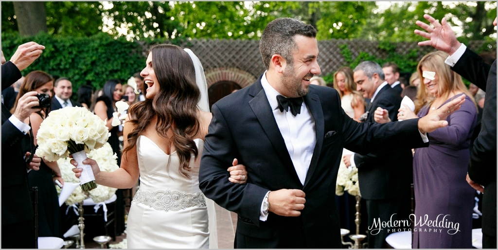 Krista and Jason after they said I Do! Outdoor ceremony at The Royalton Mansion, Roslyn New York